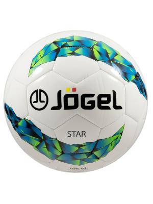 Мяч футзальный Jogel JF-200 Star №4. Цвет: белый, зеленый, синий, черный