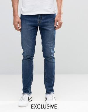 Brooklyn Supply Co. Винтажные джинсы скинни с необработанным краем Co Dumb. Цвет: синий