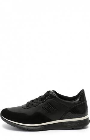 Комбинированные кроссовки с тиснением Hogan. Цвет: черный