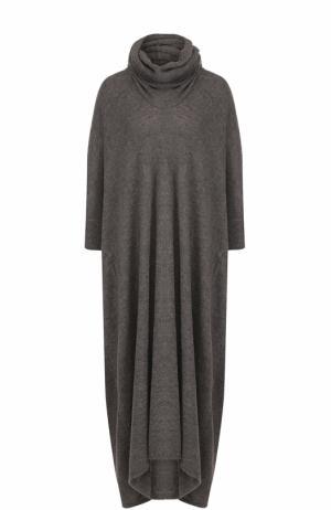 Вязаное платье-макси с объемным воротником Yohji Yamamoto. Цвет: серый