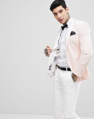 ASOS Розовый бархатный блейзер супероблегающего кроя Wedding. Цвет: розовый