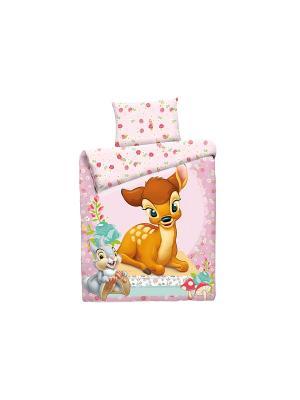 Комплект постельного белья ясли Бемби на полянке Disney. Цвет: розовый