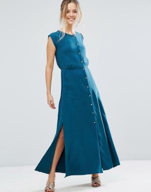 Closet London Платье макси на пуговицах. Цвет: зеленый