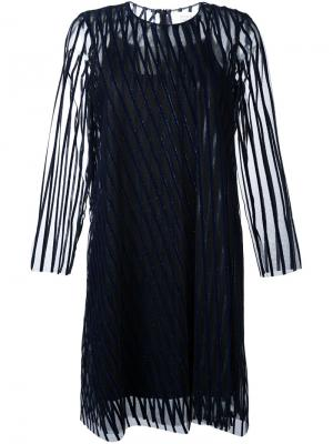 Прозрачное платье в полоску Gianluca Capannolo. Цвет: синий