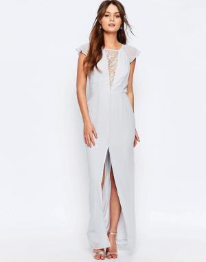 Elise Ryan Платье макси с кружевной вставкой и оборками на рукавах. Цвет: серый