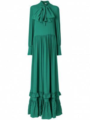 Платье-макси с рюшами на подоле Piccione.Piccione. Цвет: зелёный