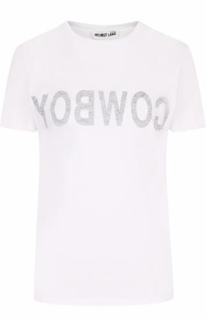 Хлопковая футболка с круглым вырезом и надписью Helmut Lang. Цвет: белый