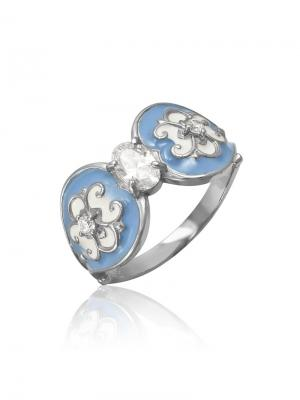 Кольцо из коллекции Гжель KU&KU. Цвет: голубой, белый, светло-голубой