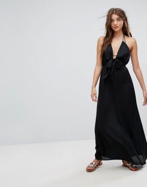 ASOS Пляжное тканое платье макси с завязкой. Цвет: черный