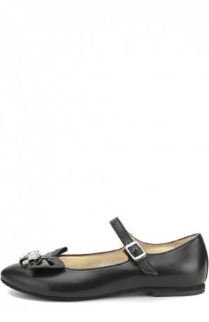 Кожаные туфли с бантом и кристаллами Monnalisa. Цвет: черный