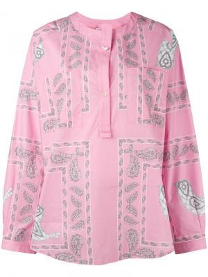 Топ на пуговицах с принтом пейсли Natasha Zinko. Цвет: розовый и фиолетовый