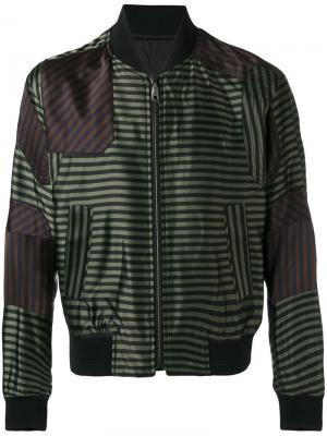 Полосатая куртка-бомбер Wooyoungmi. Цвет: зелёный