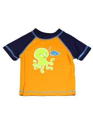 Футболка пляжная Осьминог Little Me. Цвет: синий, оранжевый