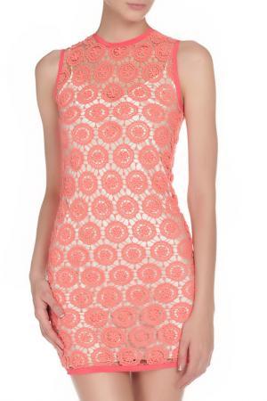 Ажурное короткое платье PINKO TAG. Цвет: розовый