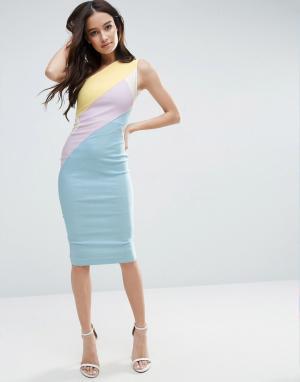 Vesper Платье колор блок на одно плечо. Цвет: мульти