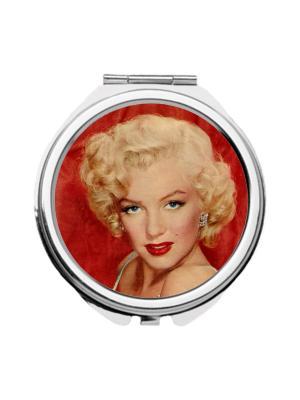Зеркальце карманное Монро на красном Chocopony. Цвет: красный, бежевый