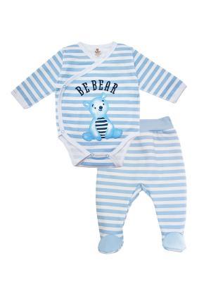 Комплект одежды: ползунки, боди-распашонка Коллекция BE BEAR КОТМАРКОТ. Цвет: голубой