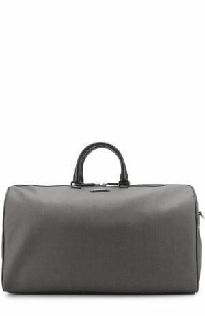 Дорожная сумка с отделкой из натуральной кожи Ermenegildo Zegna. Цвет: темно-серый