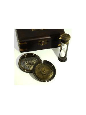 Набор капитан-командор компас с песочными часами в деревянной коробке Экспедиция. Цвет: бронзовый