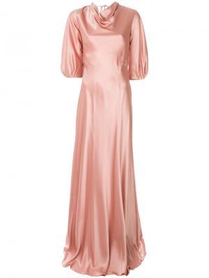 Платье без застежки с воротником шалька Alberta Ferretti. Цвет: розовый и фиолетовый