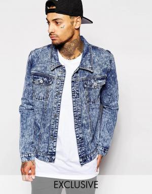 Liquor & Poker Классическая куртка из синего мраморного денима. Цвет: синий