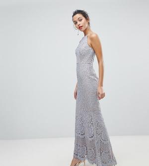 Jarlo Кружевное платье макси с американской проймой. Цвет: серый