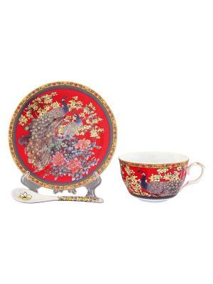 Чайная пара Павлин на красном Elan Gallery. Цвет: красный, желтый, коричневый