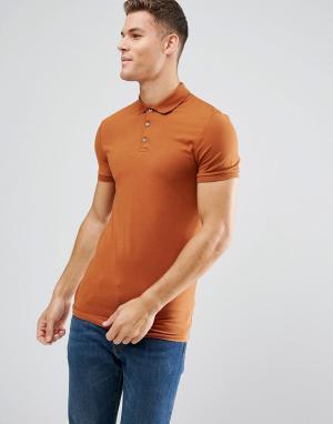 ASOS Длинное обтягивающее поло из трикотажа оранжевого цвета. Цвет: коричневый