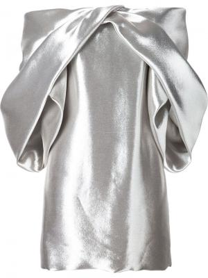 Платье с объемными рукавами Monse. Цвет: металлический