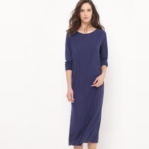 Платье длинное с ребристым узором, декольте сзади La Redoute Collections. Цвет: серый меланж,темно-синий