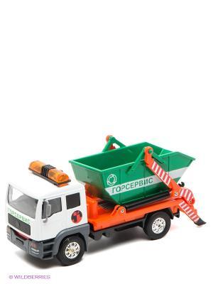Машина Мусоровоз Технопарк. Цвет: зеленый, белый, оранжевый