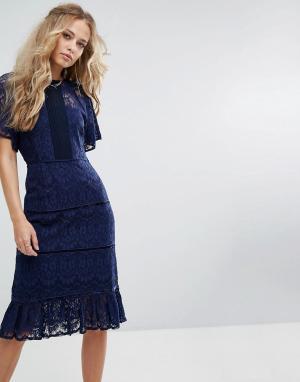 Foxiedox Платье миди с кружевной вставкой. Цвет: темно-синий