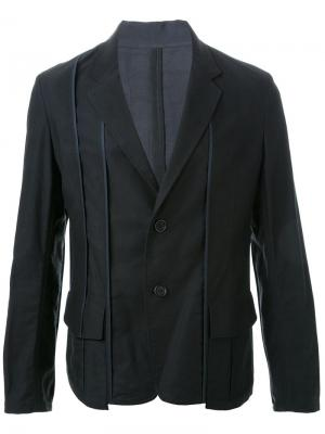 Пиджак с контрастной строчкой Yohji Yamamoto. Цвет: чёрный