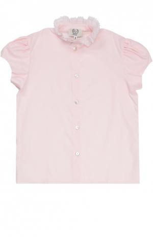 Хлопковая блуза с кружевным воротником-стойкой Caf. Цвет: розовый