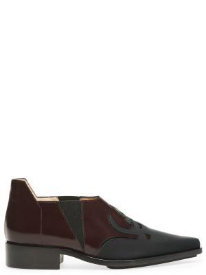 Ботинки из гладкой кожи с контрастным декором PACO RABANNE. Цвет: разноцветный