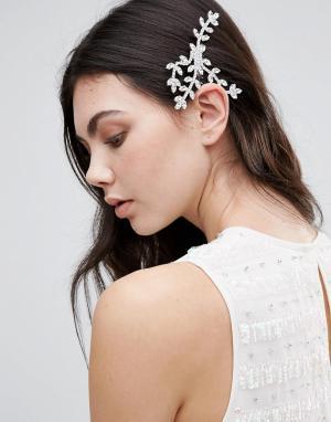 Krystal Гребень с дизайном в виде листьев и кристаллами Swarovski. Цвет: прозрачный