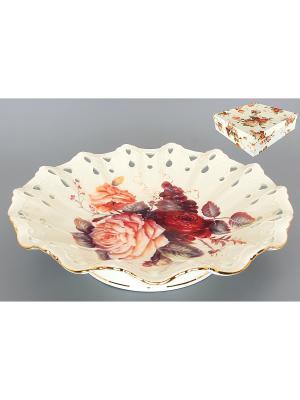 Блюдо Бархатный нектар Elan Gallery. Цвет: бежевый, красный, розовый