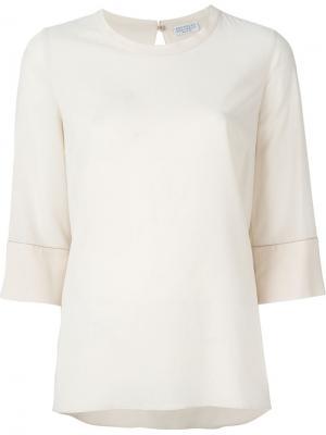 Декорированная  блузка Brunello Cucinelli. Цвет: телесный