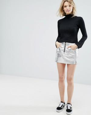 Outstanding Ordinary Серебристая мини-юбка из искусственной кожи. Цвет: серебряный