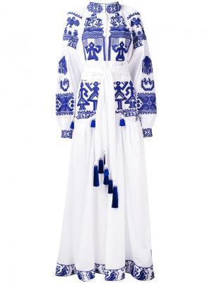 Длинное платье с этническим принтом Yuliya Magdych. Цвет: белый
