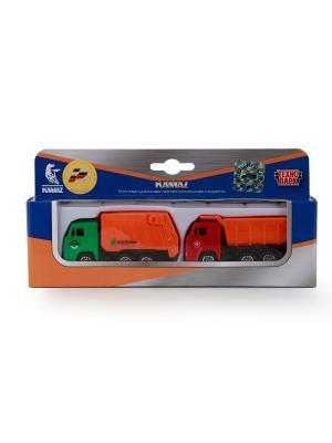 Набор из 2-х металлический моделей Технопарк камаз 7,5см. Цвет: оранжевый, зеленый, красный