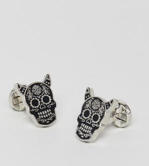 Noose & Monkey Запонки в виде мексиканского черепа с рогами. Цвет: серебряный