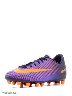Бутсы JR MERCURIAL VAPOR XI AG Nike. Цвет: фиолетовый, оранжевый