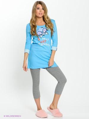 Пижама PELICAN. Цвет: голубой, серый меланж