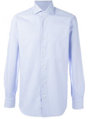 Классическая рубашка  в клетку Barba. Цвет: синий