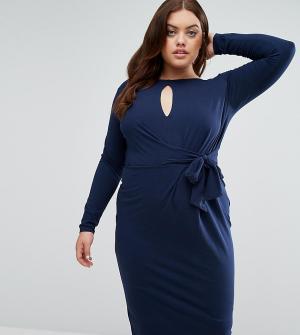 ASOS Curve Платье миди с глубоким вырезом, длинными рукавами и завязкой сбоку ASO. Цвет: темно-синий
