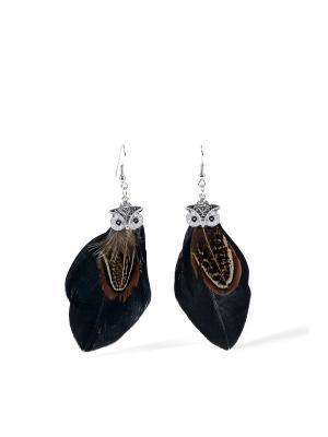 Серьги с перьями Под покровительством Афины в стиле бохо Nothing but Love. Цвет: серебристый, коричневый, черный