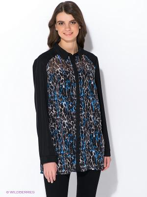 Блузка Oodji. Цвет: черный, синий, бежевый