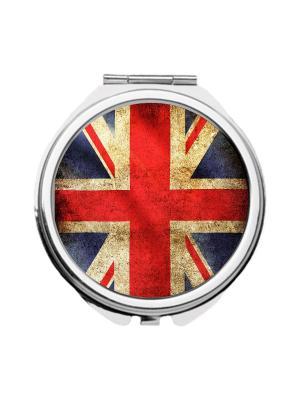 Зеркальце карманное Британский флаг Chocopony. Цвет: темно-синий, бежевый, красный