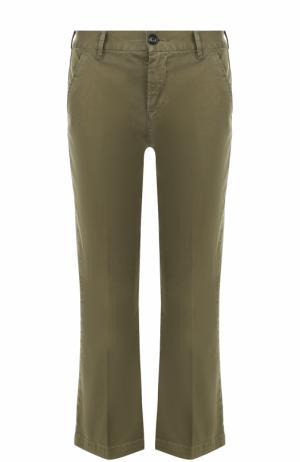 Укороченные расклешенные брюки Frame Denim. Цвет: оливковый